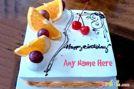 Elegant White Fruit Cake For Birthday Wishes With Name