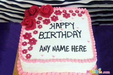 Rose Flowers Birthday Cake With Name Edit