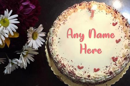 Create Red Velvet Happy Birthday Cake With Name