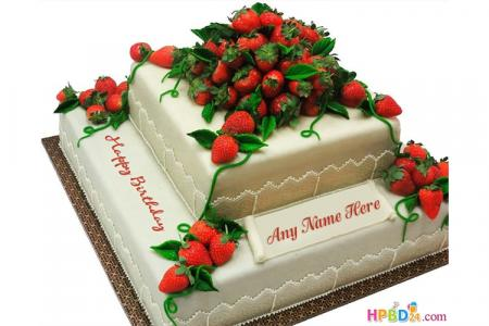 Latest Strawberry Birthday Cake With Name Images