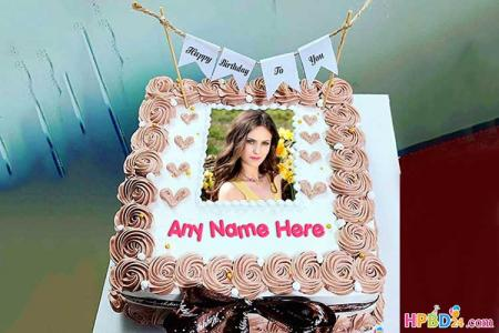 Lovely Birthday Cake With Names And Photos Frame
