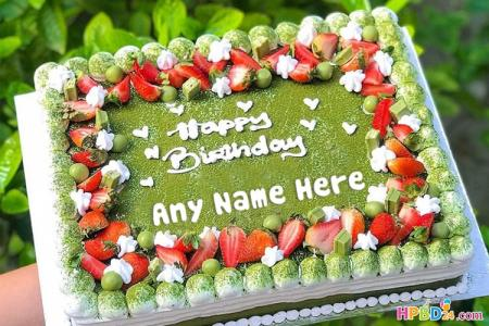 Matcha Green Tea Fruit Cake With Name Editor