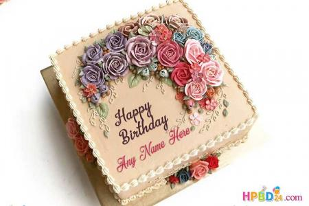 Lovely Flowers Cake Image With Name Generator