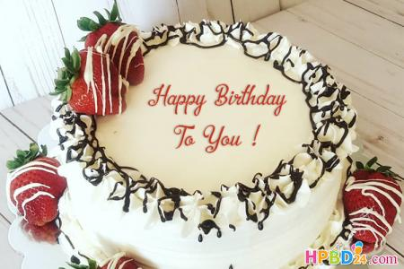 Sweetest Strawberry Birthday Cake With Name Images