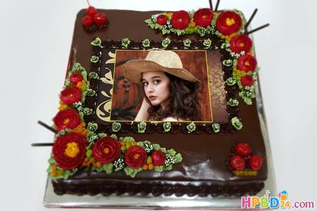 Chocolate Flower Cake With Photo Frame