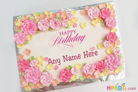 Spring Flowers Cakes With Name Free Download