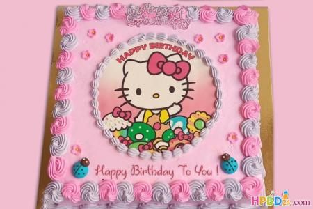 Hello Kitty Birthday Cake For Kid Girls  With Name