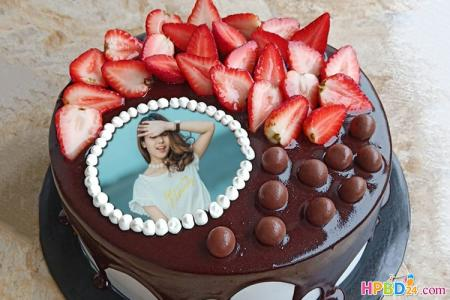 Strawberry Chocolate Birthday Cake Photo Frame