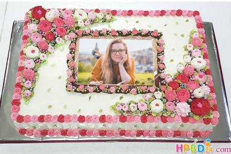 Happy Flower Birthday Cake With Photo Edit