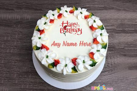 Write Name on Flower Cake Images