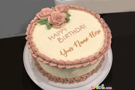Pink Buttercream Roses Birthday Cake With Name Editor