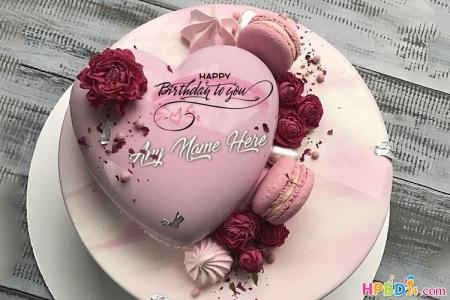 Pink Heart Birthday Cake For Lover With Name