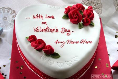 Romantic Rose Valentine Cake With Name Edit