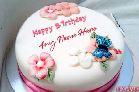 Write Name On Pink Flowers Birthday Cake With Name Edit