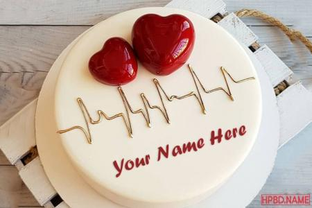 Name On 3D Heart Birthday Cakes Online Maker