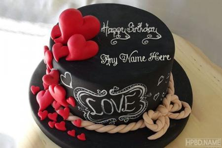 Happy Chocolate Love Birthday Cakes With Name Generator