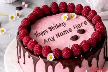 Raspberry Birthday Cake With Name Edit