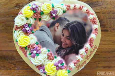 Creative Lovely Flower Birthday Cake With Photo Edit