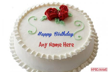 Buttercream Roses Birthday Cake With Name Generator