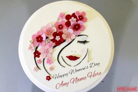 Lovely Happy Women's Day Cakes By Name Editing