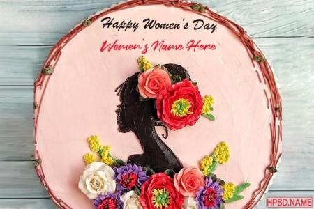 Write Name on Happy Womens Day Wishes Cake Images