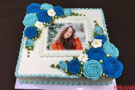 Print Photo on Pink Rose Birthday Cake Images