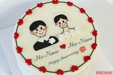 Happy Wedding Anniversary Cake with His/ Her Name