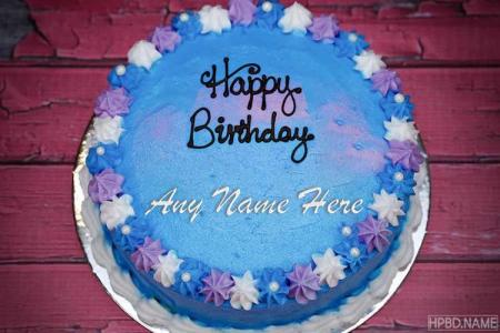 Blue Flower Happy Birthday Cake With Name
