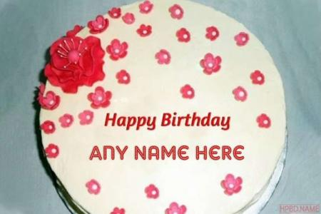 Little Flowers Birthday Cake With Name Editing