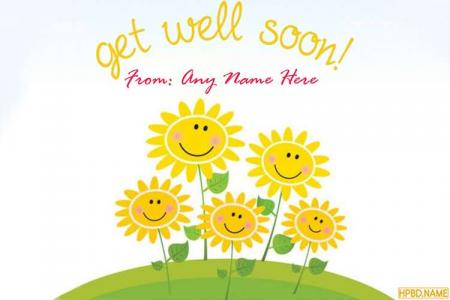 Free Sunflower Get Well Soon Card With Name Edit