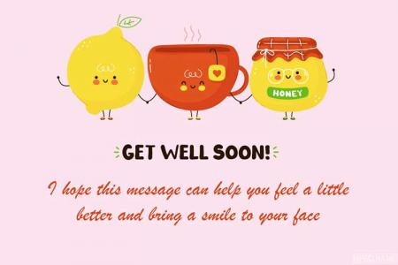 Cute Happy Tea Cup Get Well Soon Card