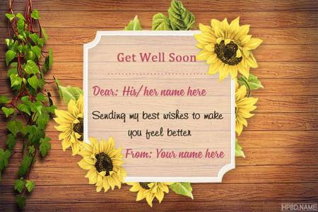 Sunflower Get Well Soon Card With Name Images