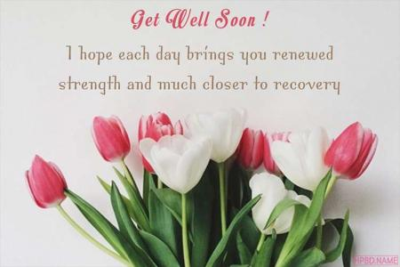 Lovely Get Well Soon Card With Flower