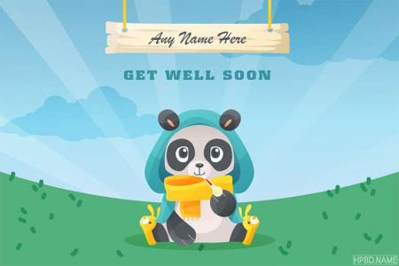 Funny Get Well Soon Panda Card With Name Generator