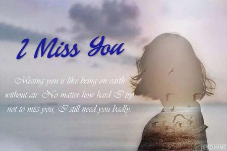 Personalize Miss You Cards for Him Online Free