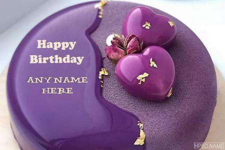 Creative and Designer Purple Birthday Cakes With Name Edit