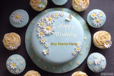 Happy Birthday Delicious Flower Cake With Name Edit