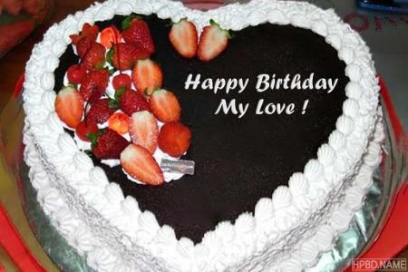 Write Name on Heart Fruit Birthday Cake Pics