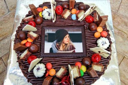 Chocolate Fruit Birthday Cake With Your Photo