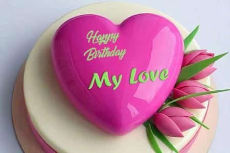 Yummy Tulip Happy Birthday Cake Name for Lover