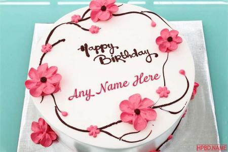 Pink Color Flower Decorated Cake With Name for Mom
