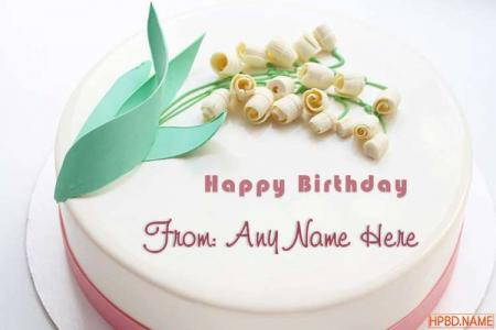 Generate Name On White Flower Birthday Cake