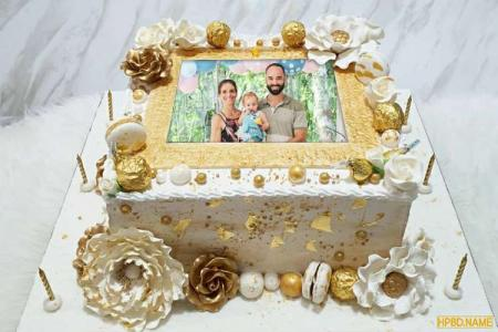Luxurious Gold-Plated Birthday Cake With Photos