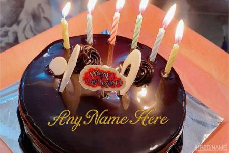 Get Your Name On Black Chocolate Birthday Cake With Candles