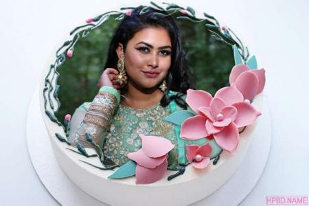 Print Photo On Lovely Pink Flower Birthday Cake