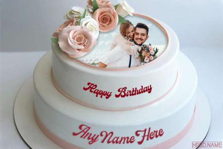 2-Tier Vanilla Flavored Birthday Cake With Name And Photo