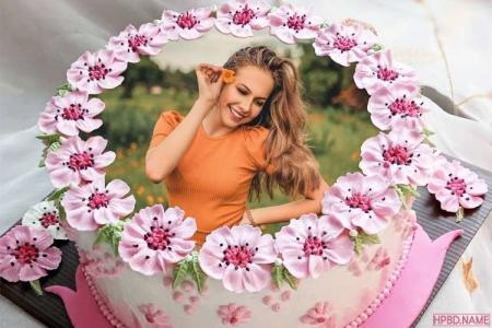 Cherry Blossom Birthday Cake With Photo Frames