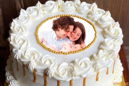 White Butter Cream Cake With Photo Edit