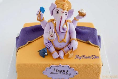 Happy Ganesh Chaturthi Cake With Name Edit