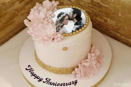 Butter Cream Anniversary Cake With Photo Frames